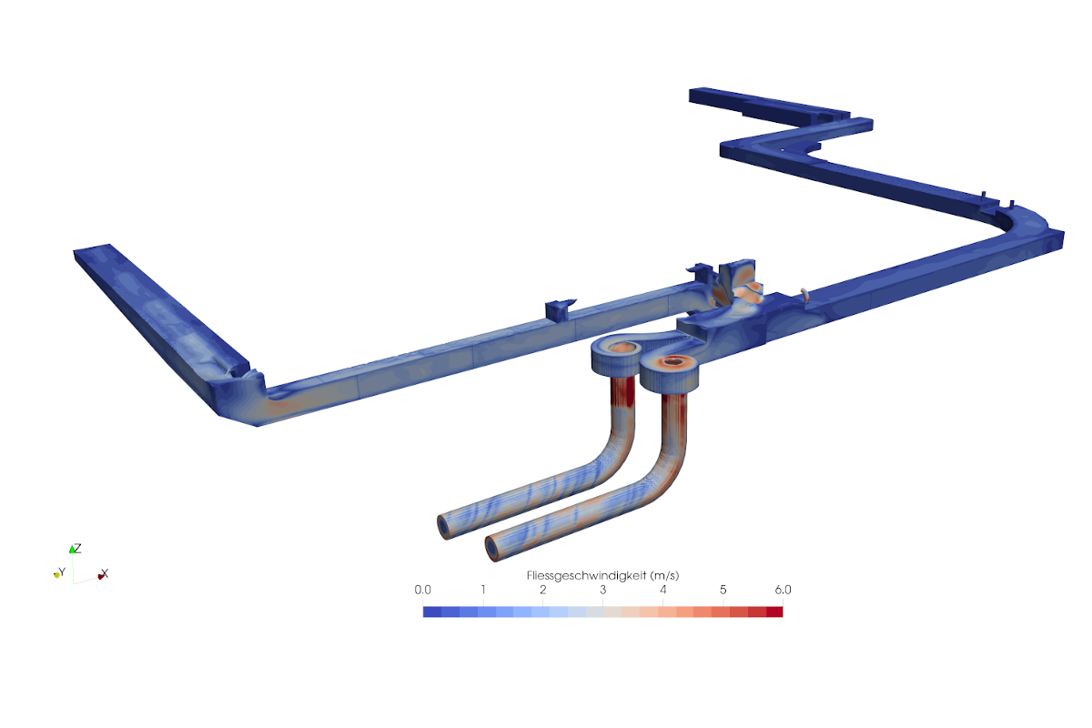 2-phase simulation of drainage channels with a vortex drop shaft of a water treatment plant, Canton Basel